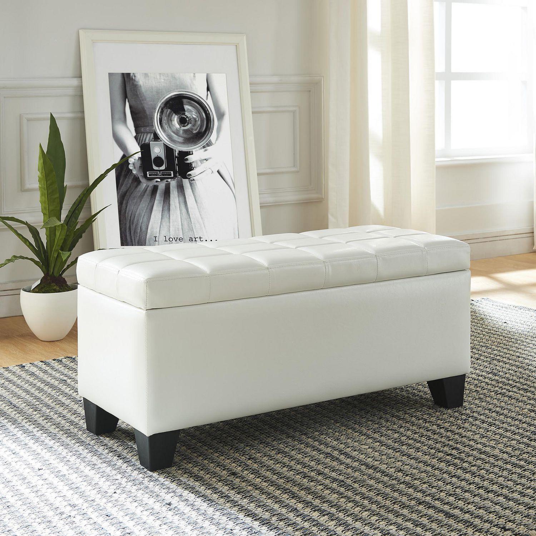 Faux Leather Storage Ottoman White Walmart Canada