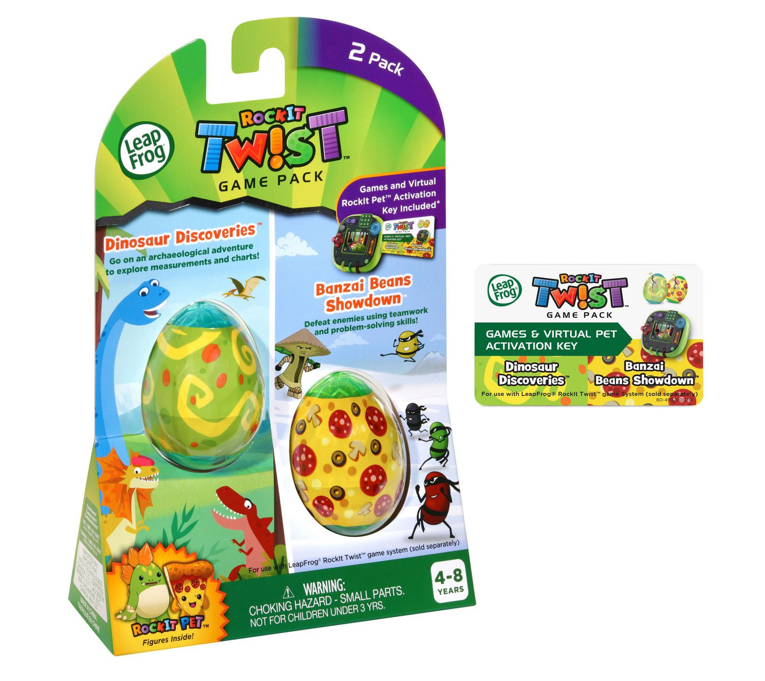 Dinosaur Discoveries and Banzai Beans Show LeapFrog RockIt Twist Dual Game Pack