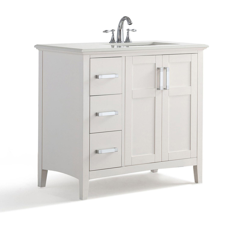 Wyndenhall salem 36 inch white quartz marble top single sink bathroom - Salem 36 Right Offset Bath Vanity With Quartz Marble Top Walmart Canada