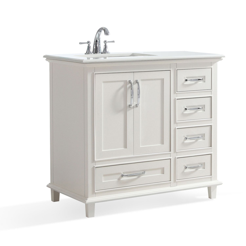 36 Bathroom Vanity | Newton 36 Bath Vanity With Bombay White Quartz Marble Top Walmart