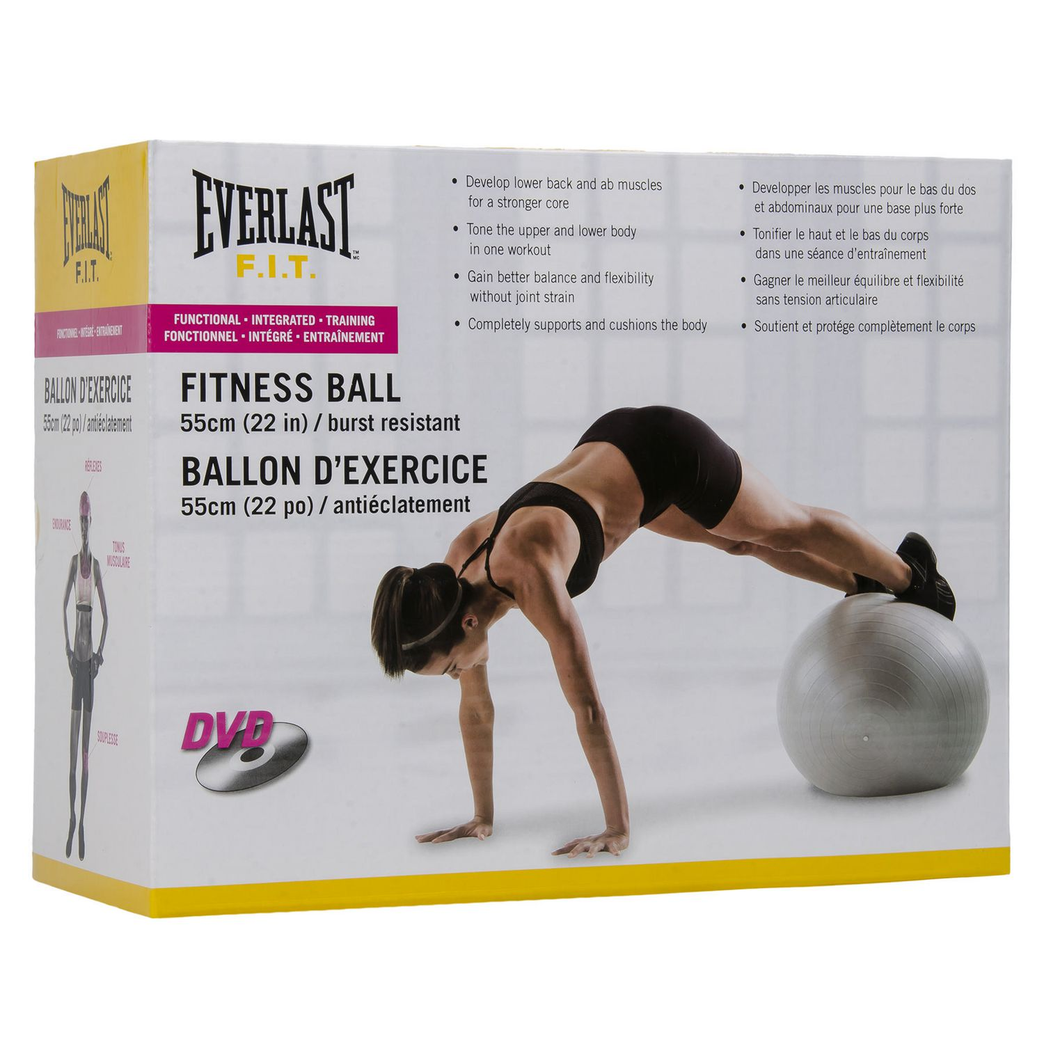 Complet Ballon d'exercices Everlast résistant à l'éclatement de 55 cm  CN07