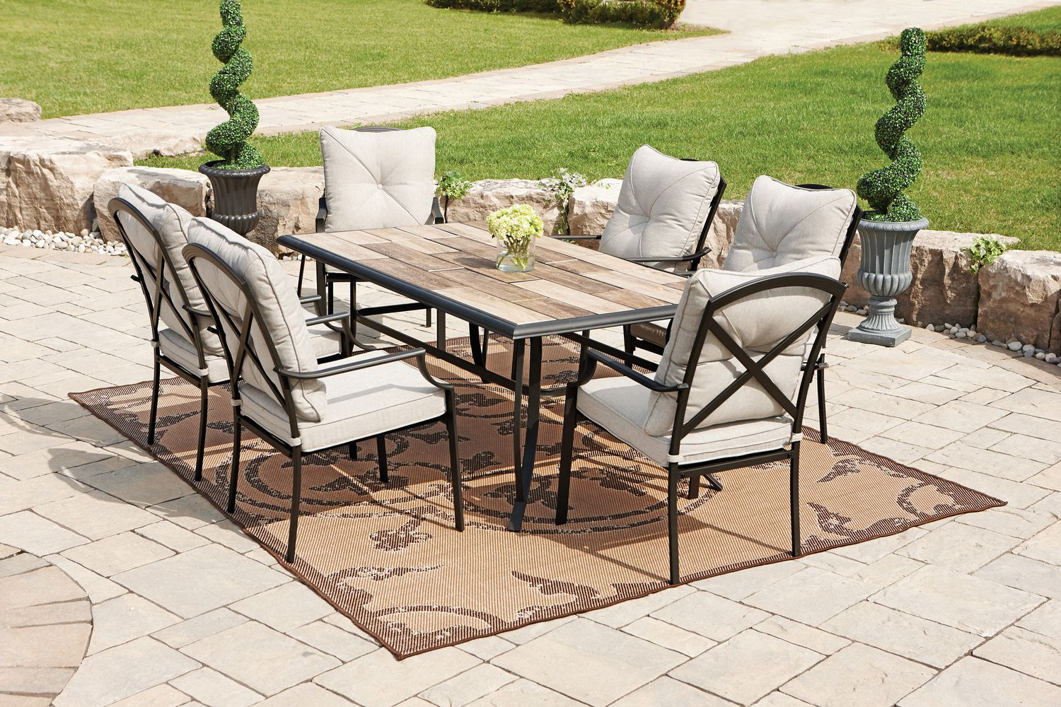 Picture of: Hometrends Parklawn 7 Piece Tile Top Dining Set Walmart Canada