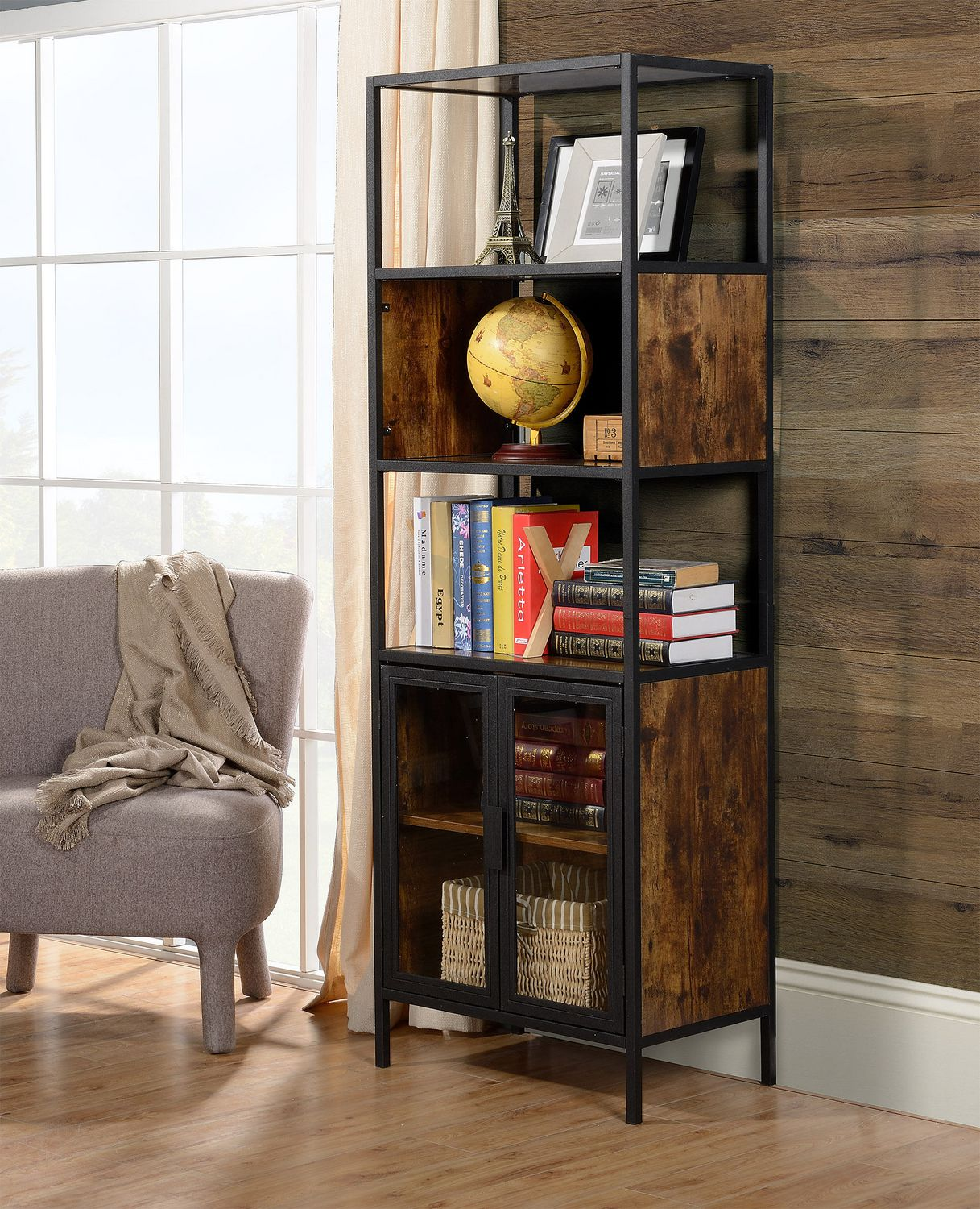 Metal And Wood Display Cabinet With Glass Doors Walmart Canada