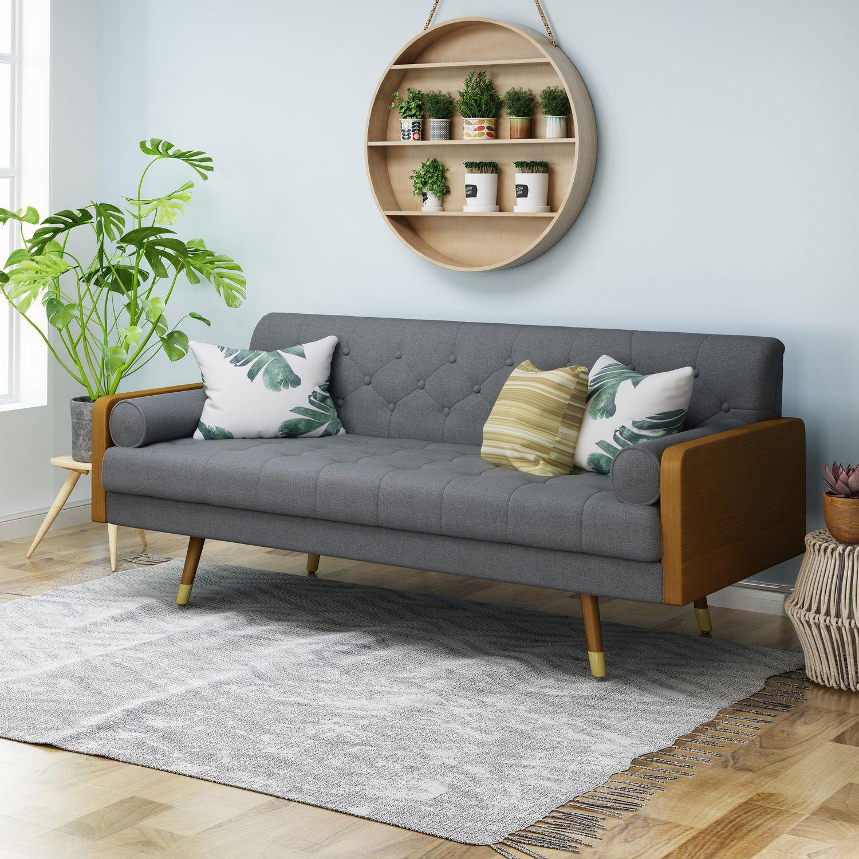 Picture of: Jalon Mid Century Modern Tufted Fabric Sofa Gray Walmart Canada
