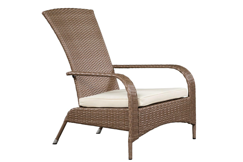 Coussin Pour Fauteuil Adirondack confortable fauteuil haut muskoka de patioflare en osier - osier brun  caramel et coussins beiges