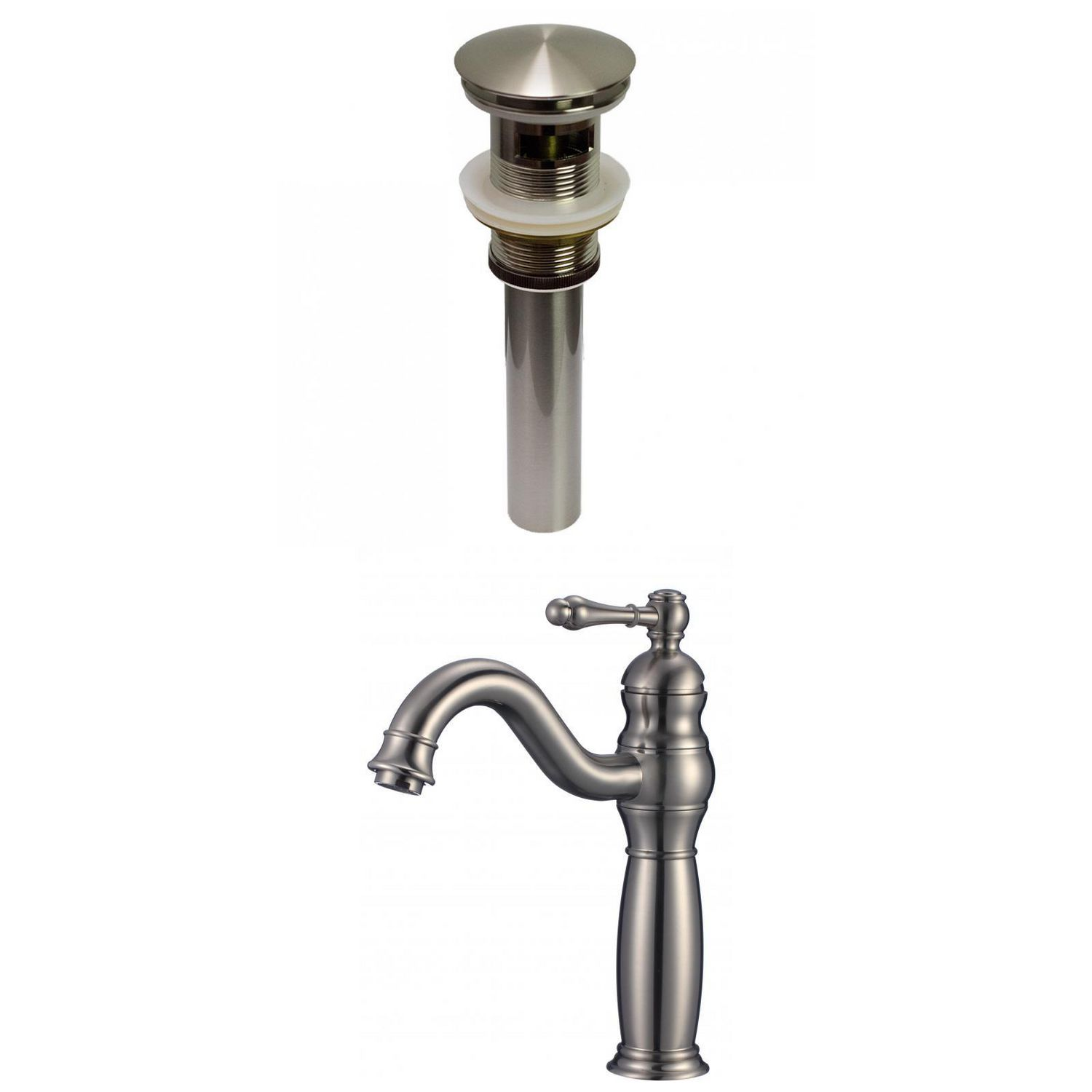 American Imaginations Ai 29479 1 Hole Cupc Approved Lead Free Brass Faucet Set In Brushed Nickel Color Overflow Drain Incl Walmart Canada