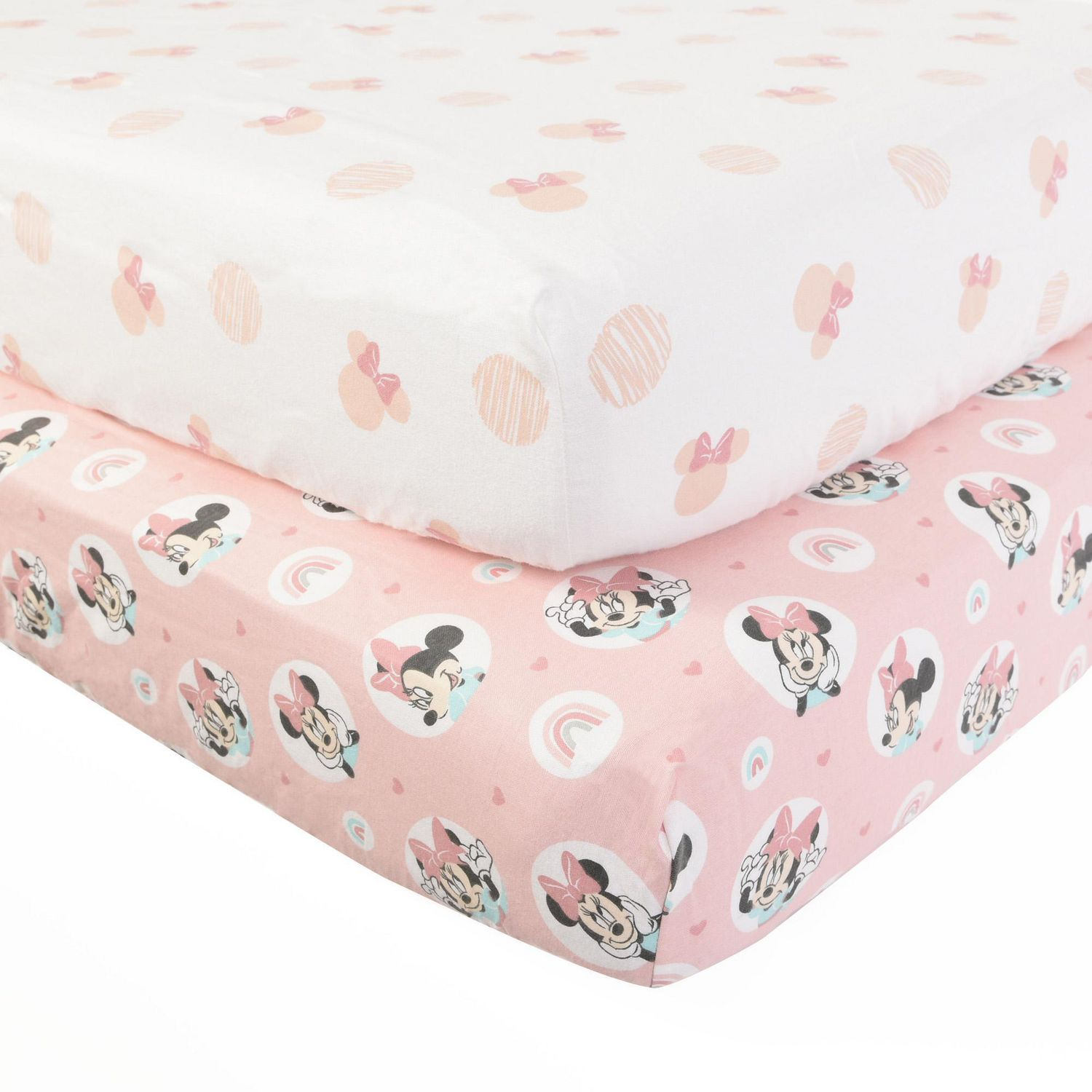 2-Pack Cotton Flannel Fitted Crib Sheets Going Dotty Disney Minnie Mouse