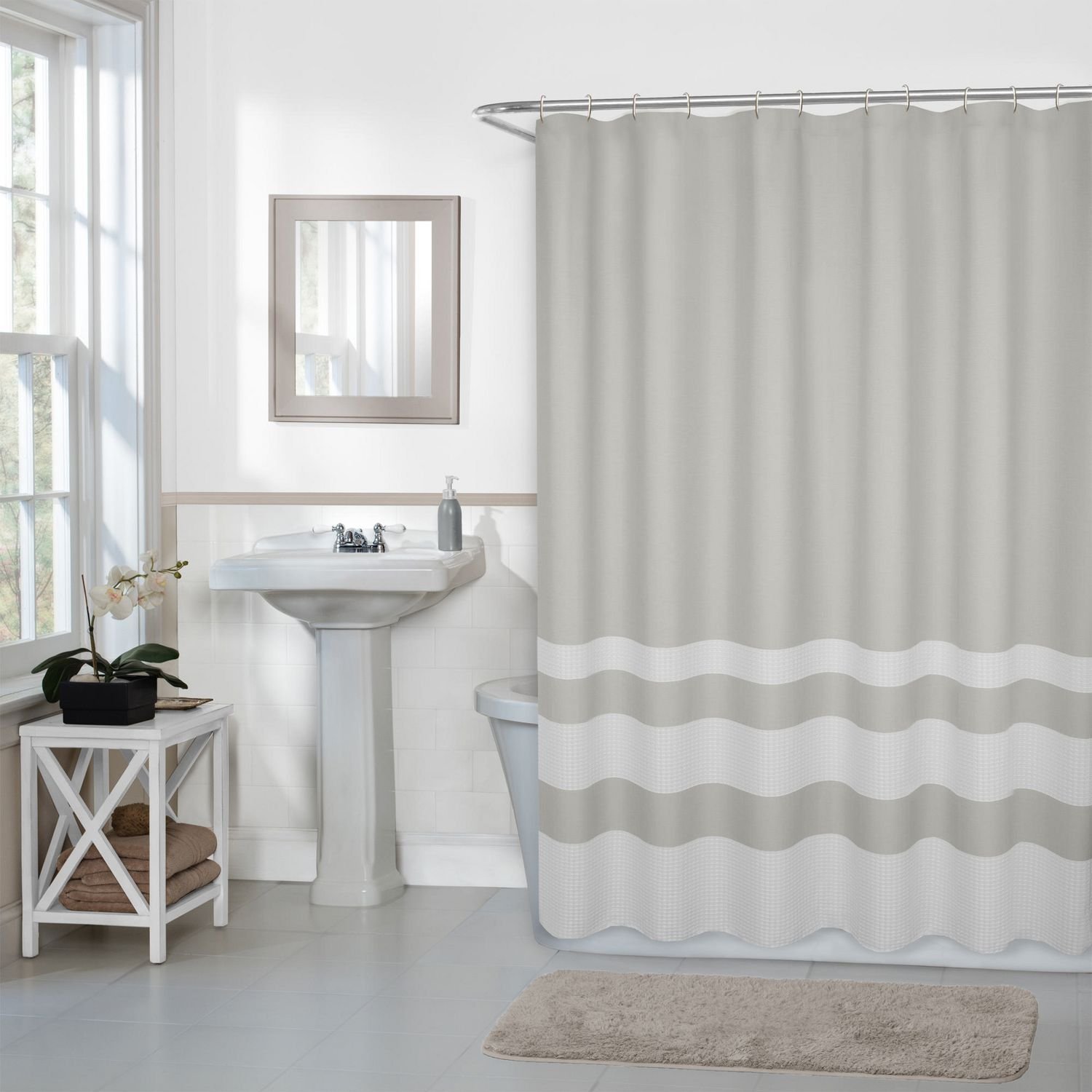 Hometrends Home Trends Textured Waffle Stripe Fabric Shower Curtain 70 Inches X 72 Inches Ivory