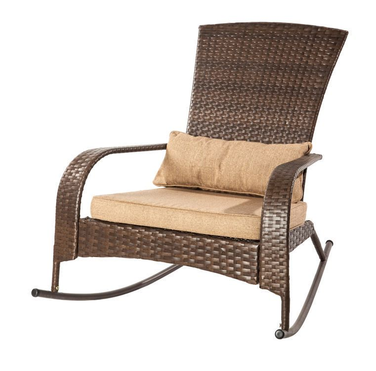 Patio Flare Collection One Wicker Muskoka Rocking Chair   Brown | Walmart  Canada