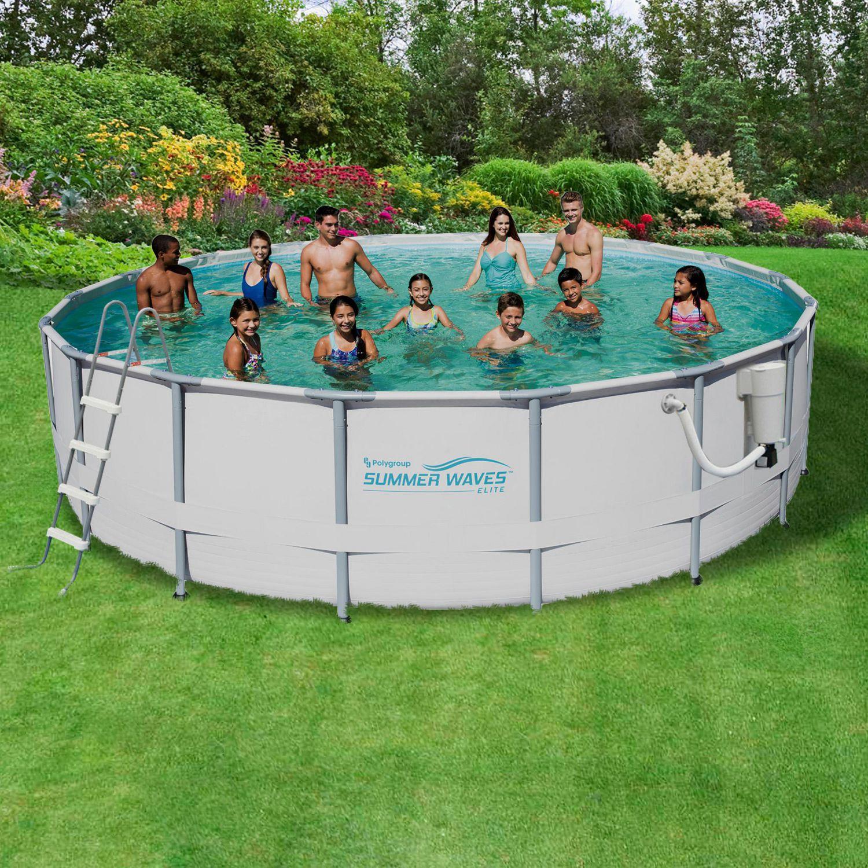 Summer Waves Elite 15-ft Round 48-in Deep Metal Frame Swimming Pool ...