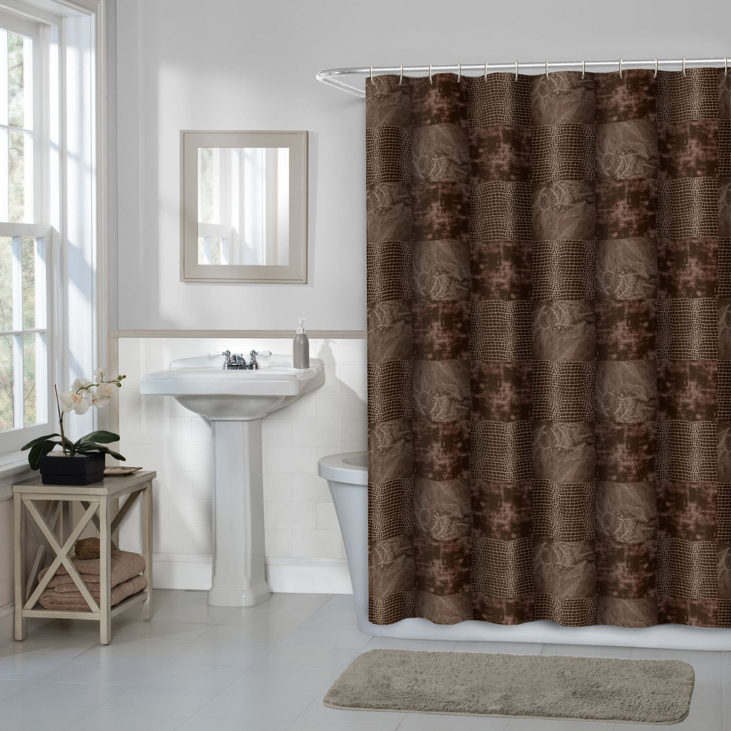 Hometrends Home Trends Wildy Fabric Shower Curtain 70 Inches X 72 Inches Chocolate