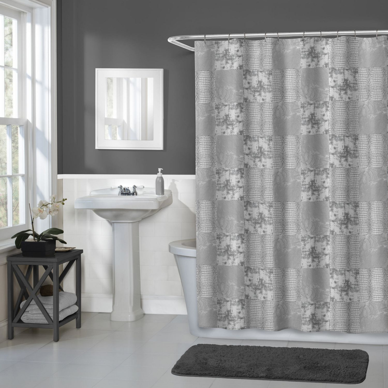 Hometrends Home Trends Wildy Fabric Shower Curtain 70 Inches X 72 Grey