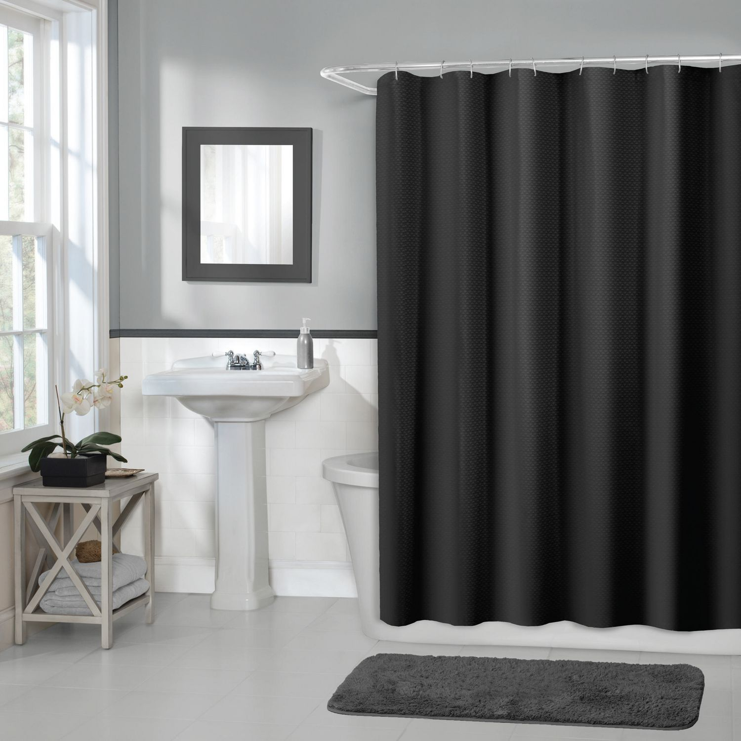 Hometrends Home Trends Waffle Fabric Shower Curtain 70 Inches X 72 Black