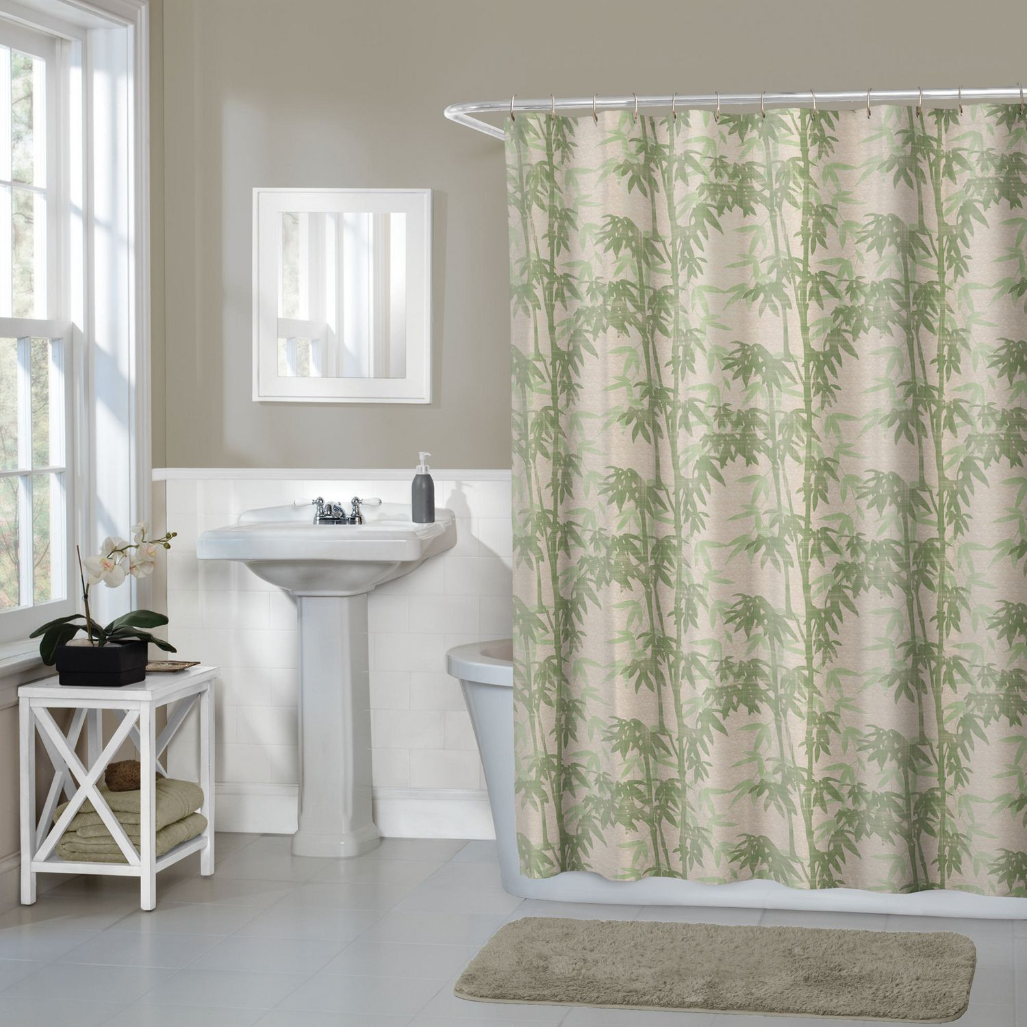 hometrends Home Trends Bamboo Floral Fabric Shower Curtain ...