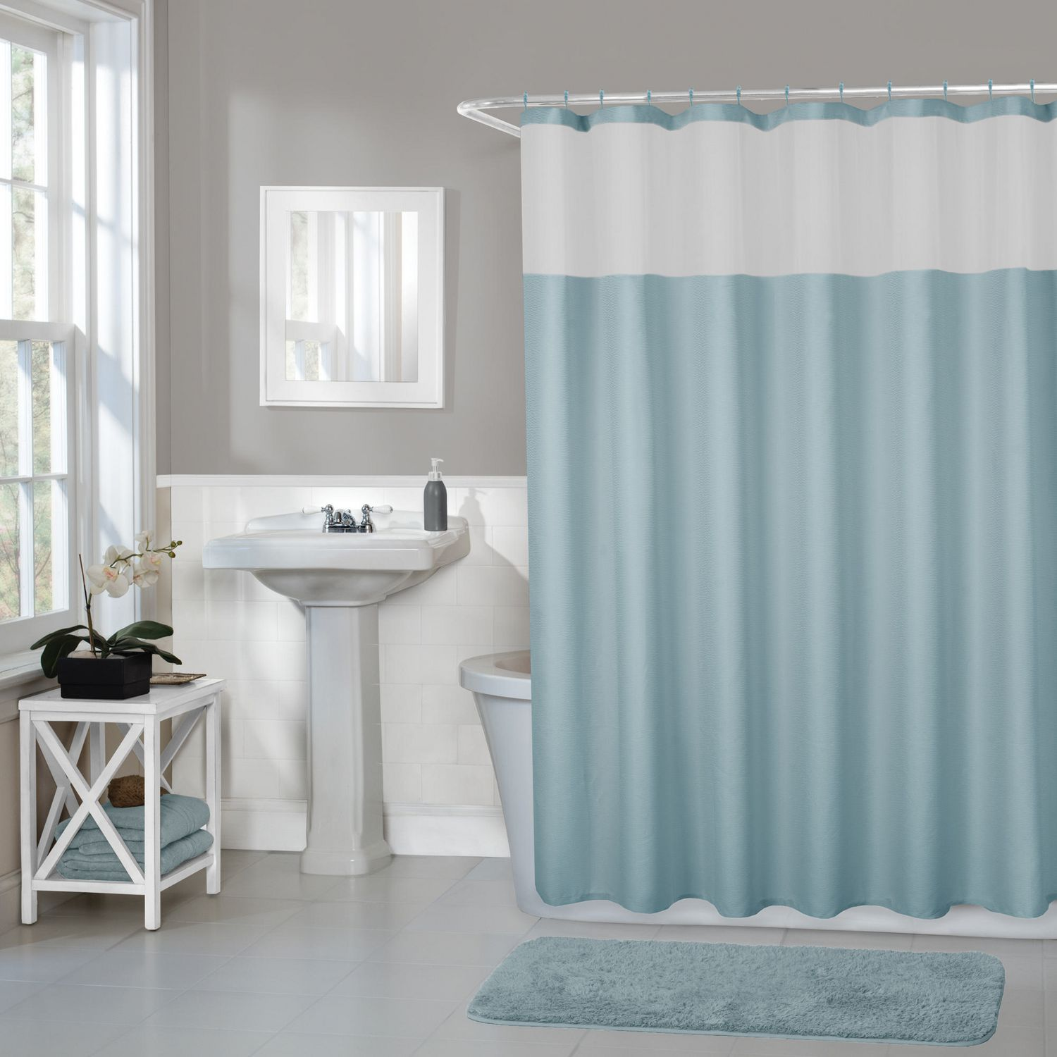 Hometrends Home Trends Smart Curtains Hendrix Fabric Shower Curtain With Attached Roller Glide Hooks 70 Inches X 72 Inches Blue