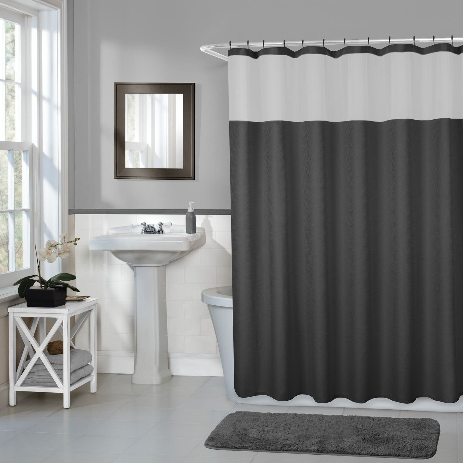 Hometrends Home Trends Smart Curtains Hendrix Fabric Shower Curtain With Attached Roller Glide Hooks 70 Inches X 72 Inches Black