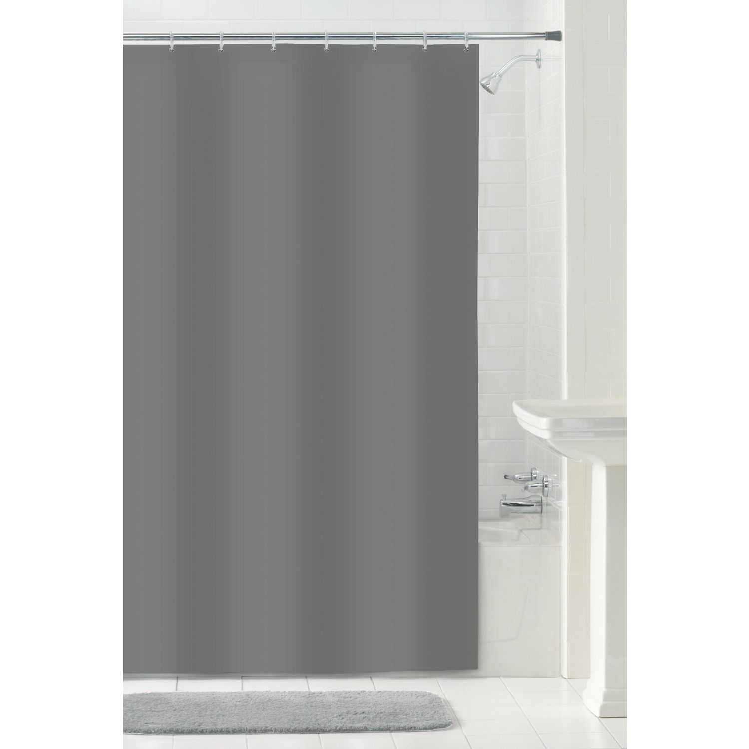 MAINSTAYS Water Repellent Fabric Shower Curtain Or Liner 70 Inches X 72 Grey