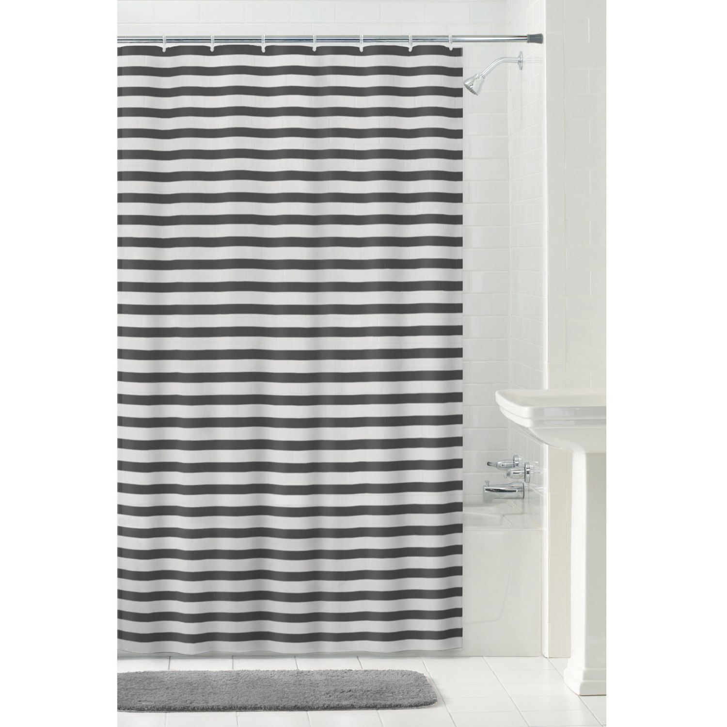Mainstays Peva Luisa Shower Curtain Or Liner 70 Inches X 72 Inches Grey