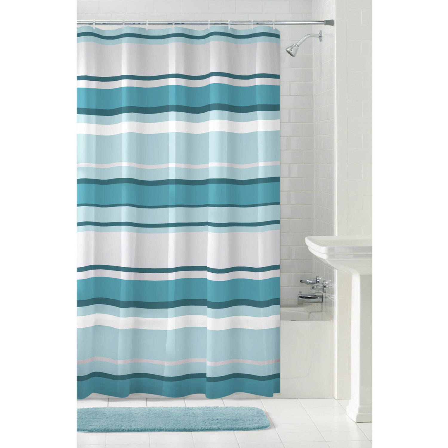Mainstays Peva James Stripe Shower Curtain Or Liner 70 Inches X 72 Inches Blue