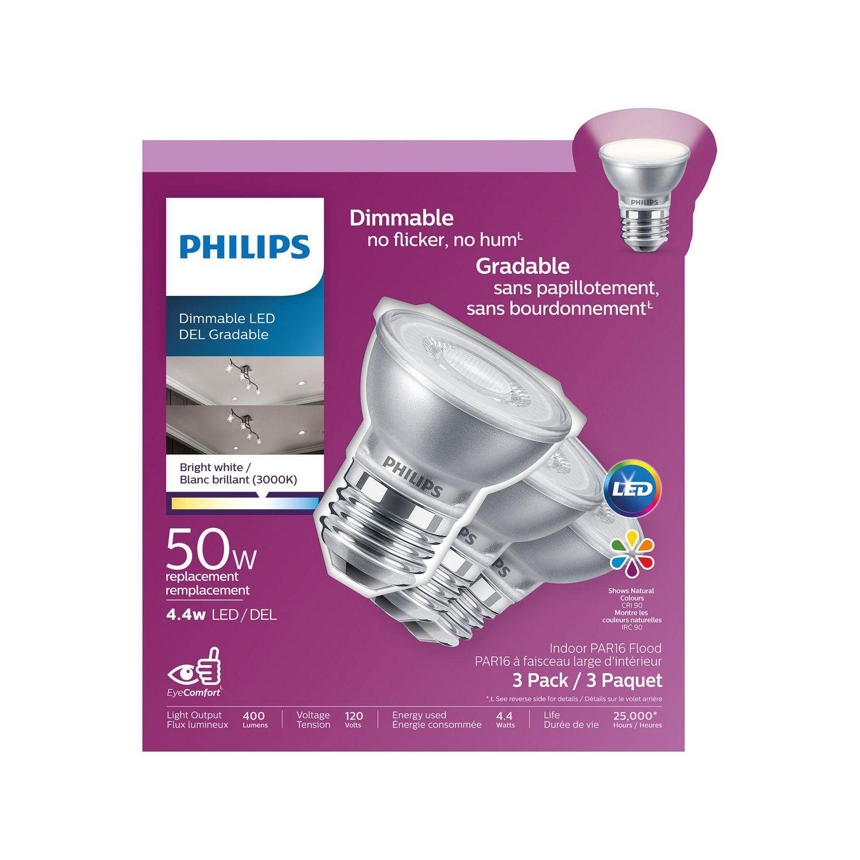 -3 Pack 2700K Philips 470013 Led 50W PAR16 Glass Soft White