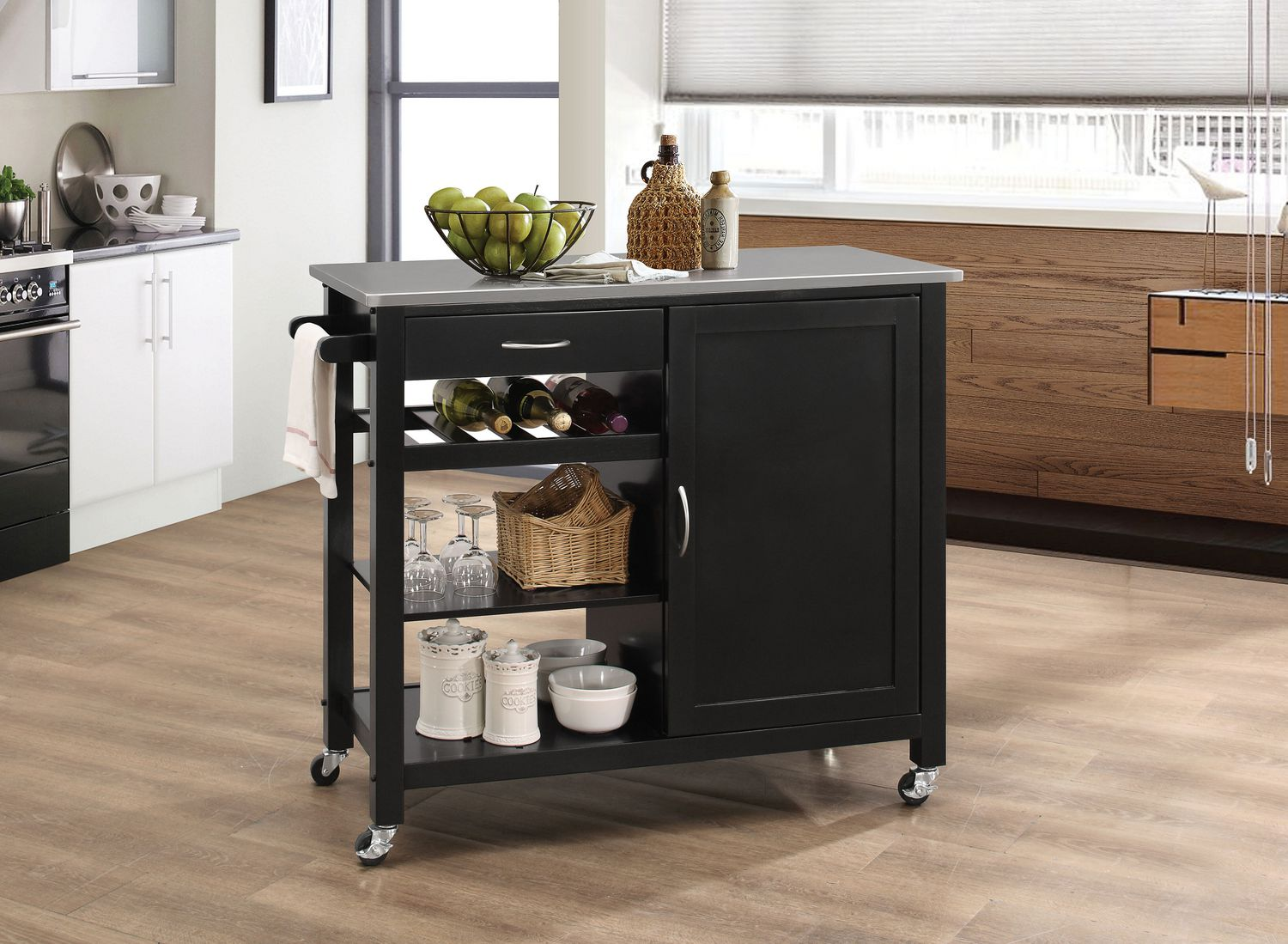 Picture of: Acme Ottawa Kitchen Cart In Stainless Steel Black Walmart Canada