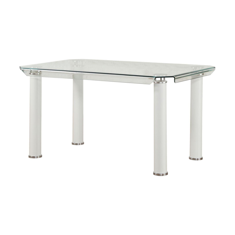 Rehausser Une Table De Salle A Manger table de salle à manger gordie acme fini blanc et verre transparent