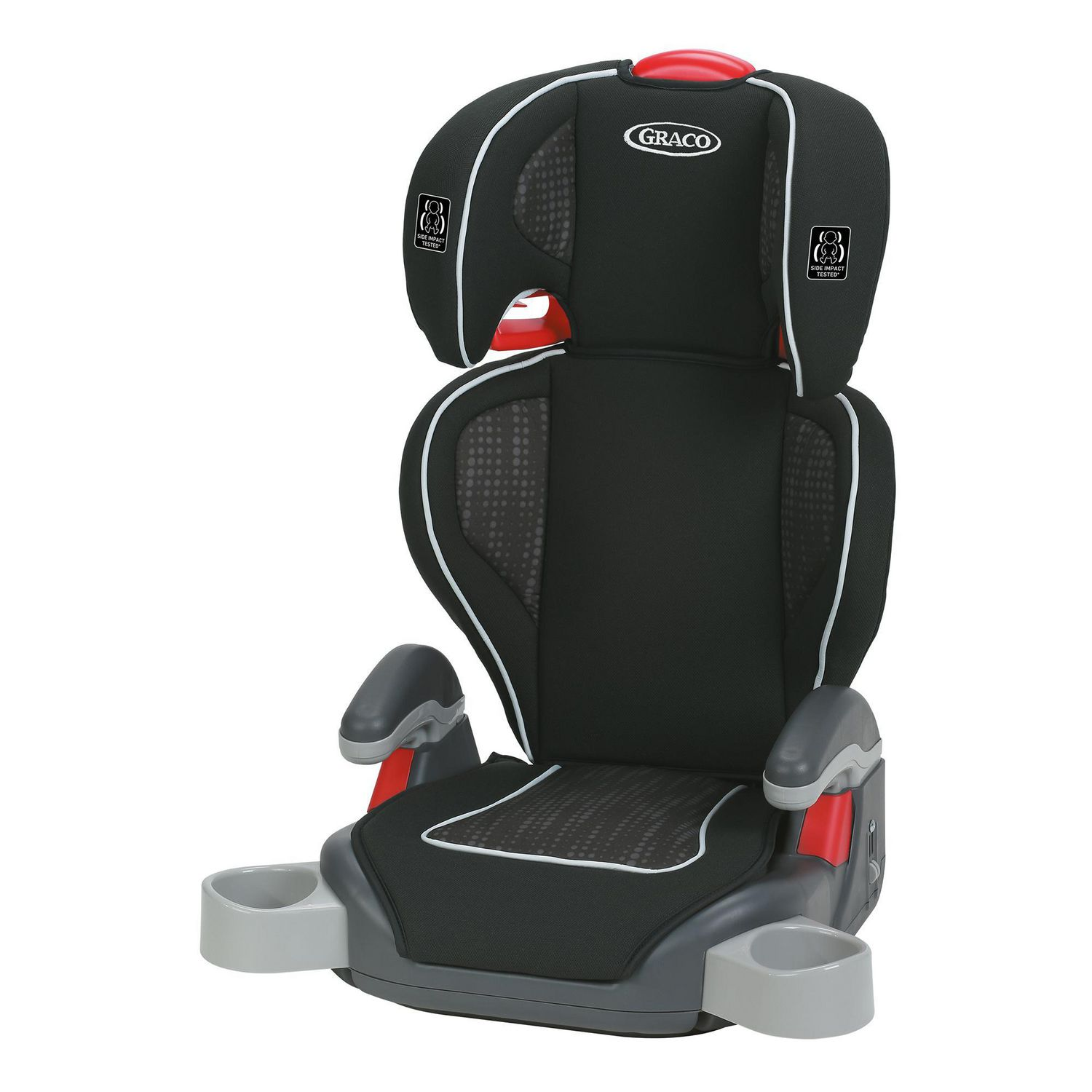 Black Graco TurboBooster booster seat with red accents and dual cup holders - best booster car seat