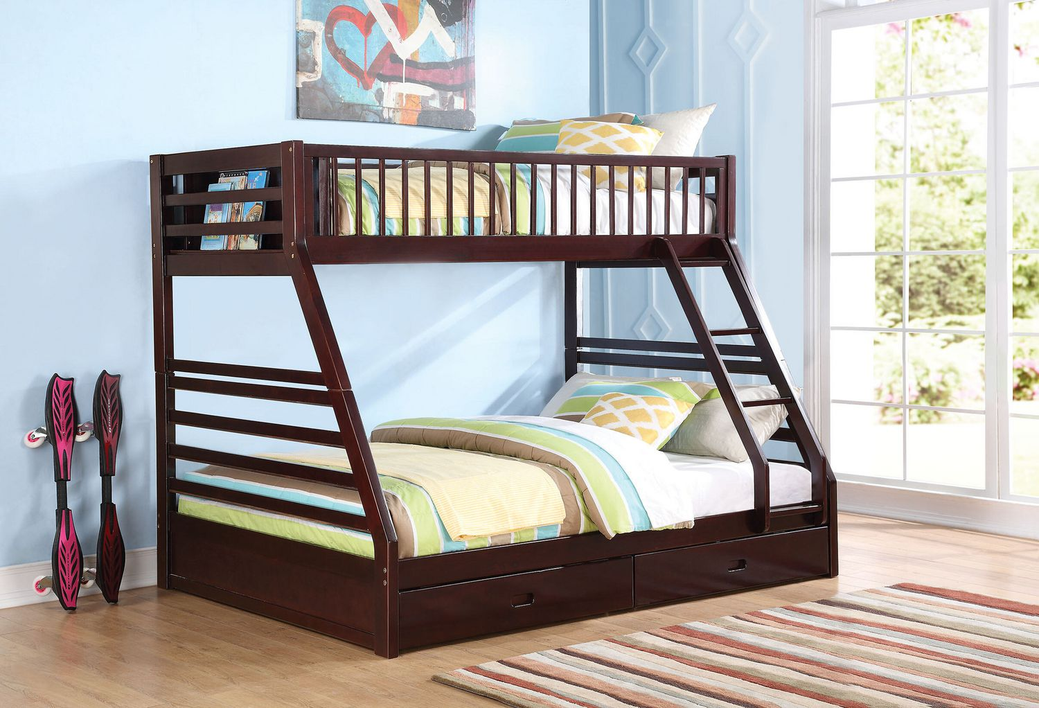 Acme Jason Xl Twin Over Queen Bunk Bed With Drawer In Espresso Walmart Canada