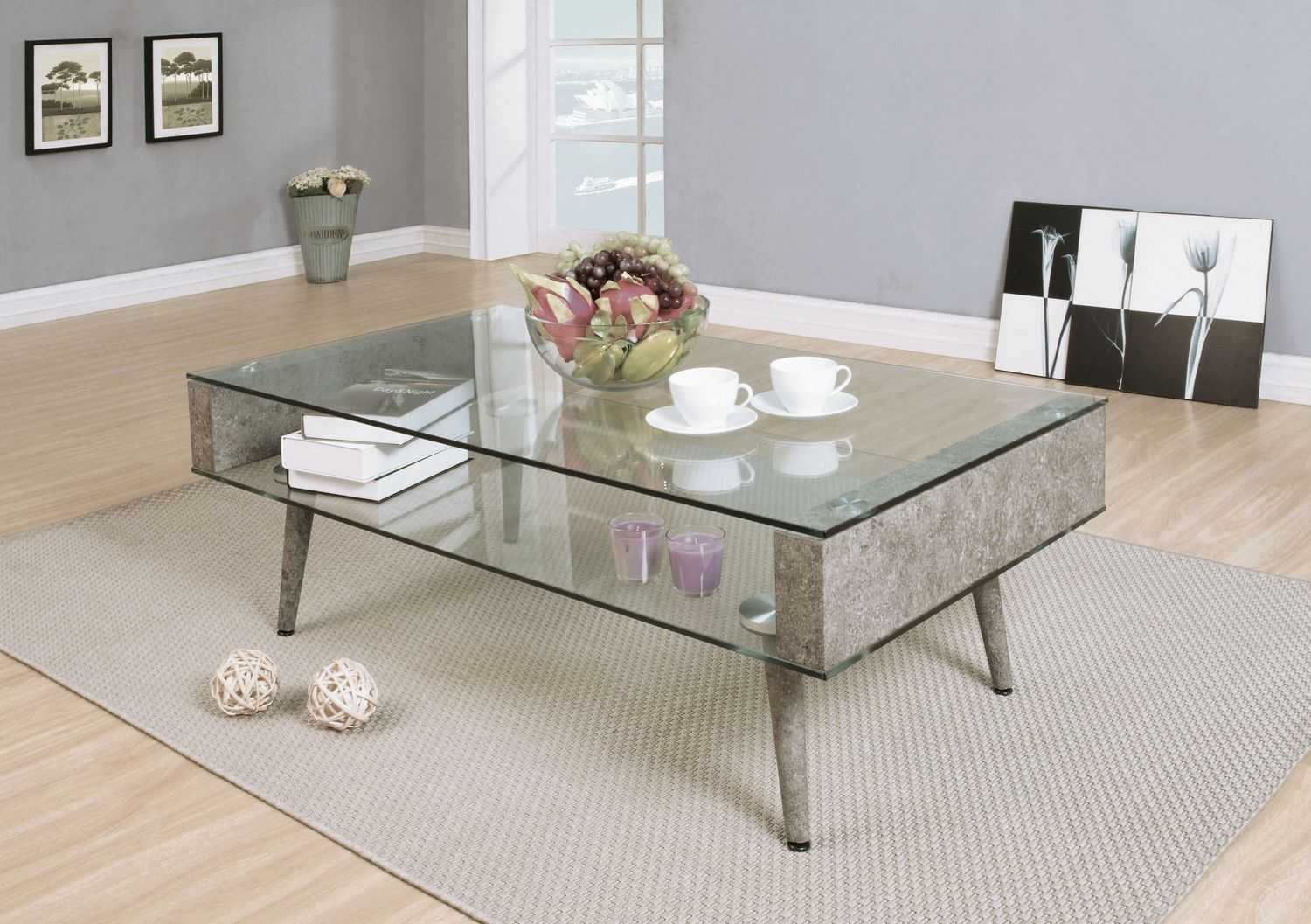 Pleasing Acme Booyd Coffee Table In Faux Concrete Clear Glass Machost Co Dining Chair Design Ideas Machostcouk