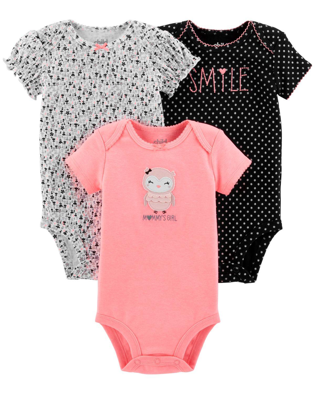 7094544de0 Child of Mine made by Carter s 3Pack Newborn Girls Bodysuits -owl ...