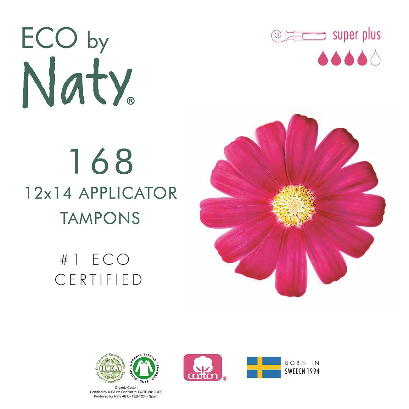Eco by Naty Certified Organic Cotton Tampons with Cardboard Applicator 14 Tampons Super Plus