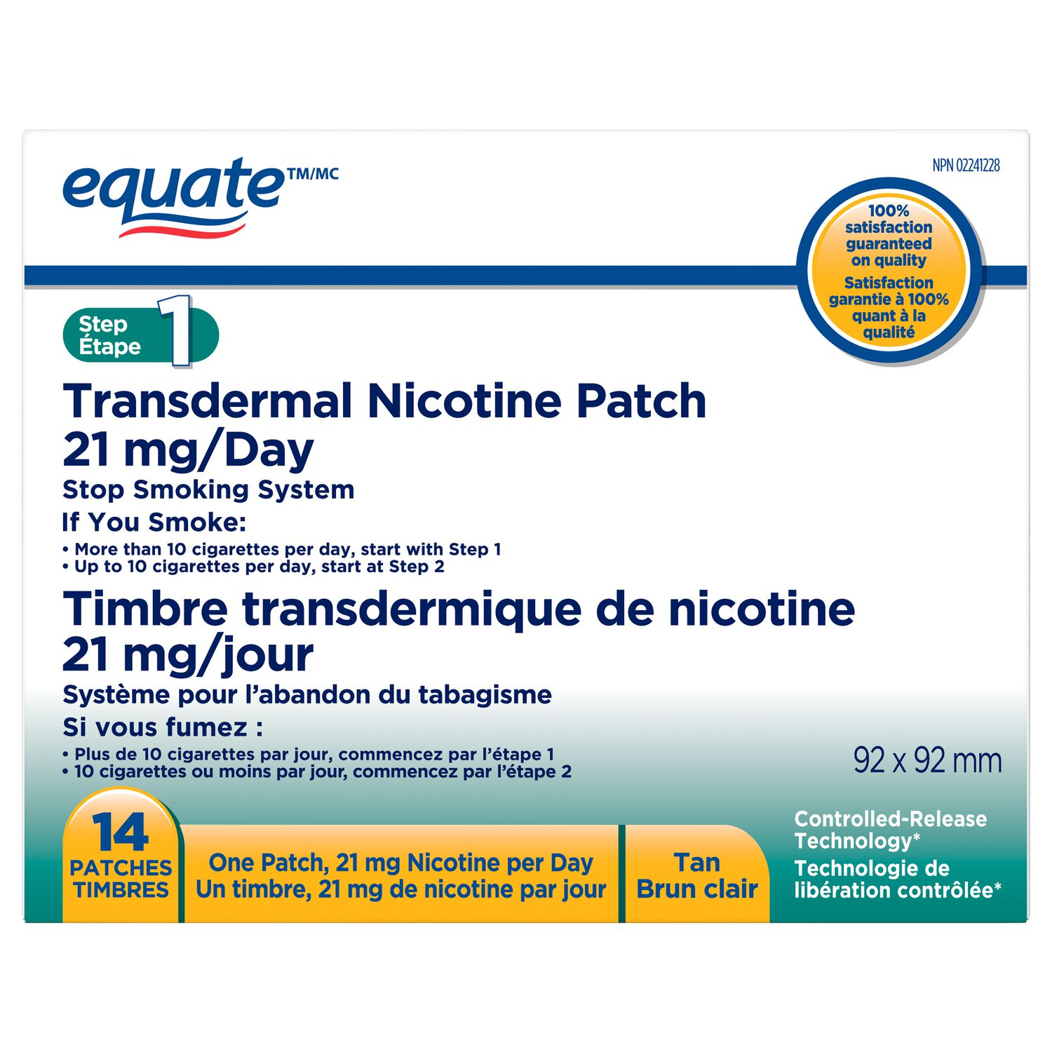 Equate, Step 1 Nicotine Patch, 21 mg/day, Quit Smoking Aid | Walmart Canada