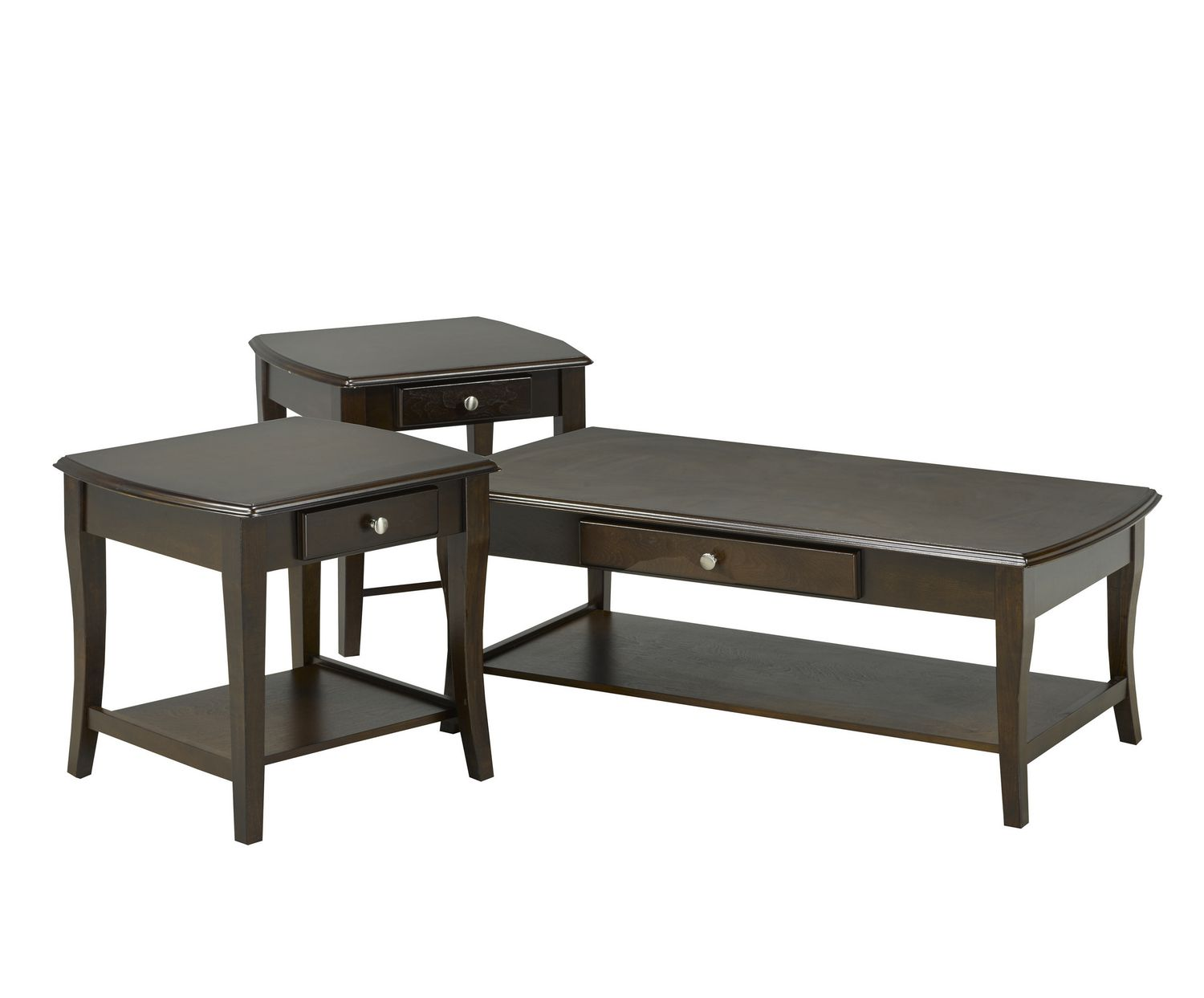 brassex inc hampton 3 piece coffee table set dark cherry walmart