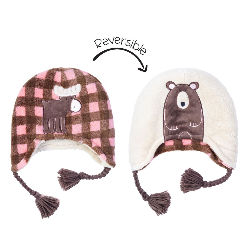 Polar fleece child/'s reversible hat with velcro chin closure
