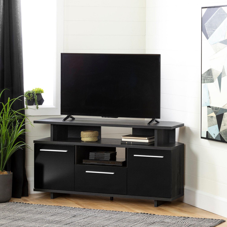 Meuble Tv En Coin south shore reflekt meuble tv en coin-chêne gris et noir