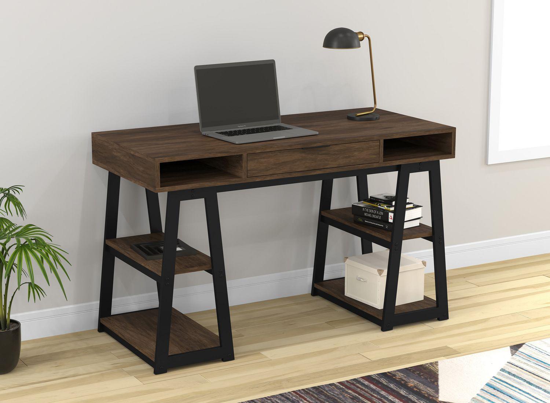Image of: Safdie Co Writing Desk Computer Table Gaming Office Desk 48 L Walnut Black Metal Walmart Canada