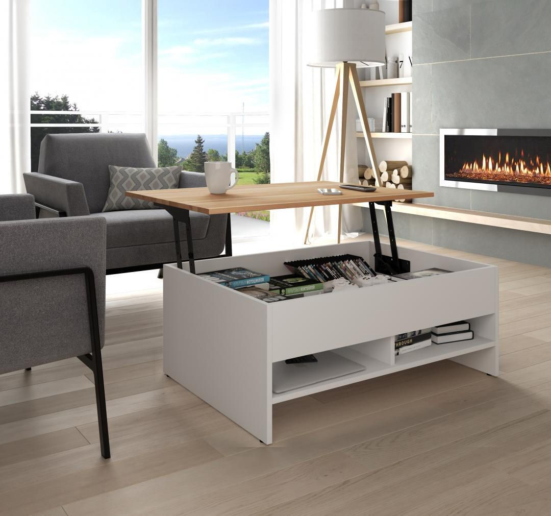 "Bestar Small Space 37"" Lift Top Storage Coffee Table"