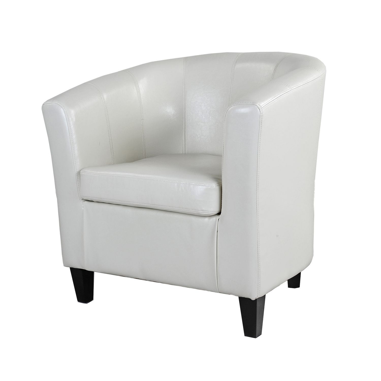 CorLiving Antonio Creamy White Bonded Leather Tub Chair | Walmart Canada