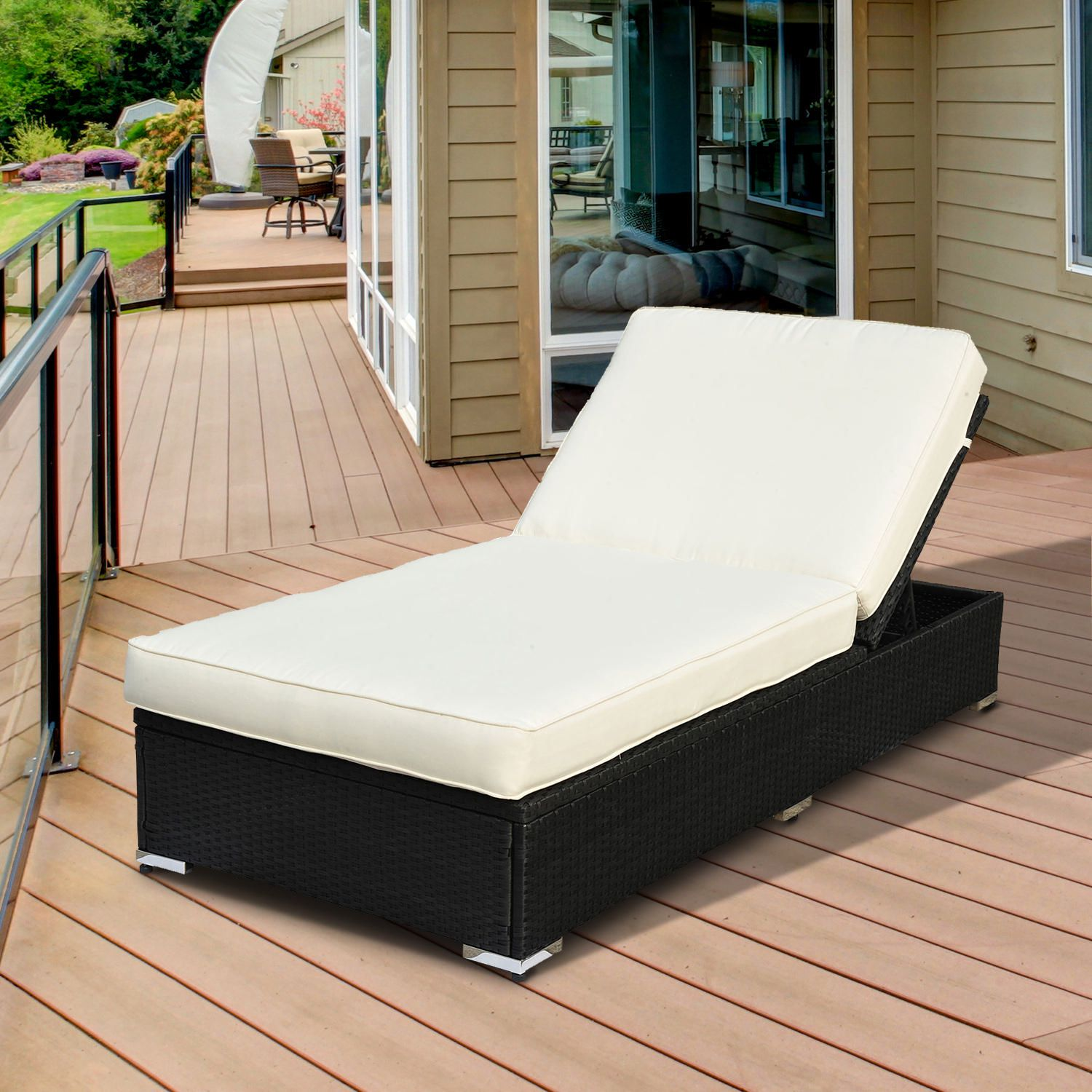 Outsunny Patio Rocking Sun Chaise Lounge Outdoor Day Bed Chair with Pillow and Stand