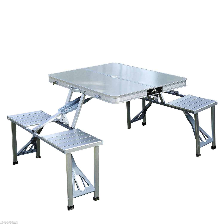 Outsunny Table de pique-nique en aluminium pliante portative extérieure