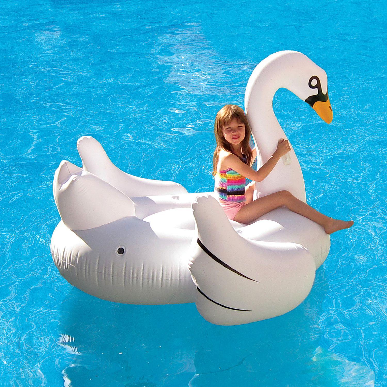 "Blue Wave Elegant Giant Swan 73"" Inflatable Ride on Pool Float"