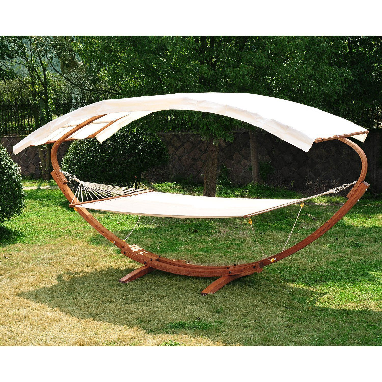 outsunny lit hamac en bois pour 2 personnes avec support et canopy