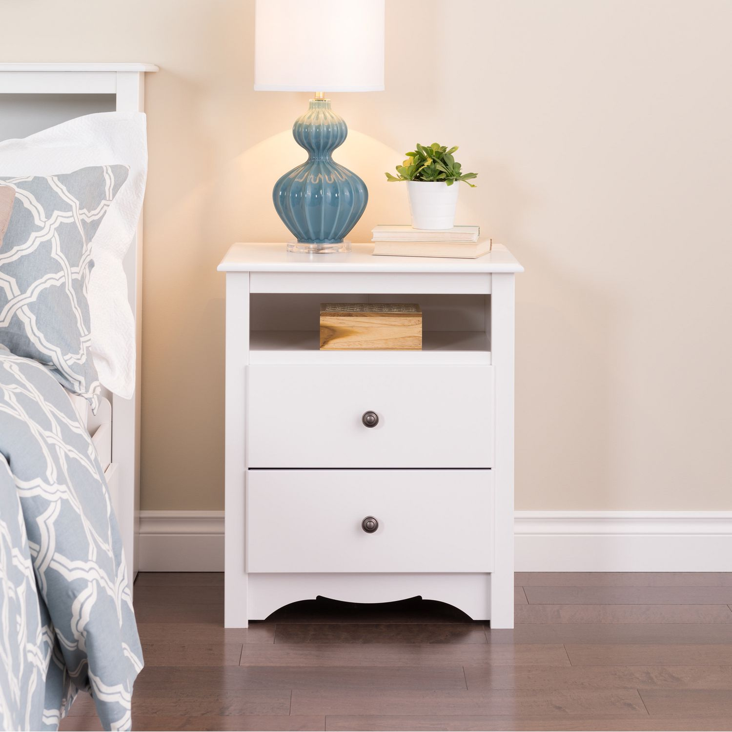 Prepac Monterey White Tall 2 Drawer Nightstand with Open Shelf