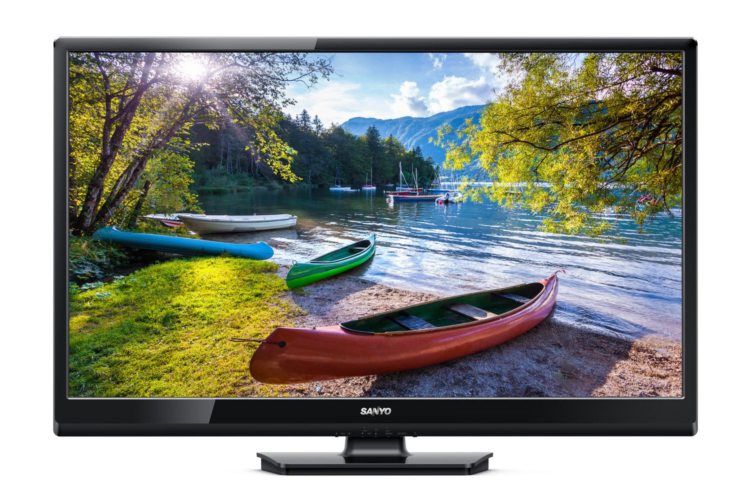 Best TVs - 30 to 39 inches - Alternate pick - Sanyo 32 inch TV with stand showing canoes beached on shore of lake on display screen
