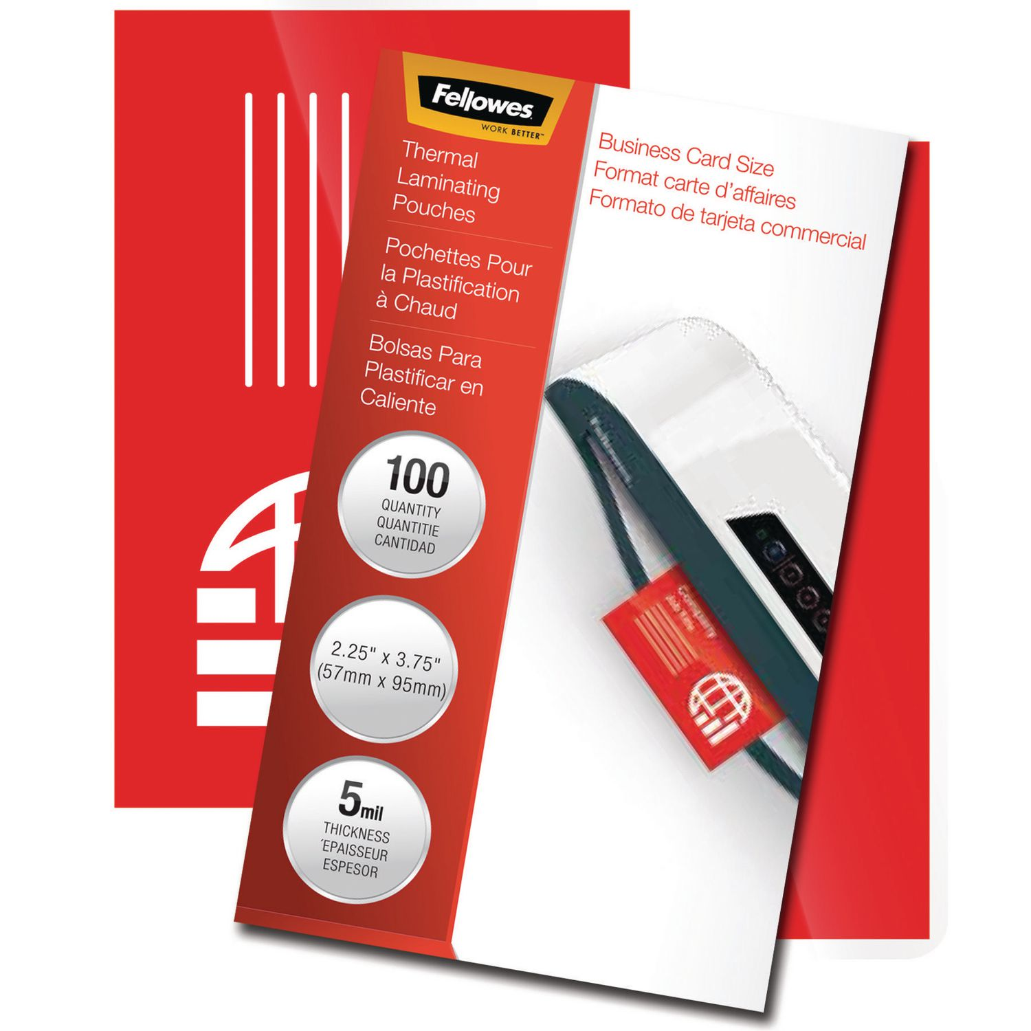 Fellowes Thermal Laminating Pouches - Business Card, Pack of 100 ...