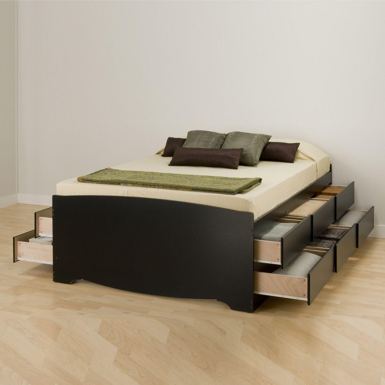 base de lit capitaine haute de prepac avec rangement de 12 tiroirs pour grand lit