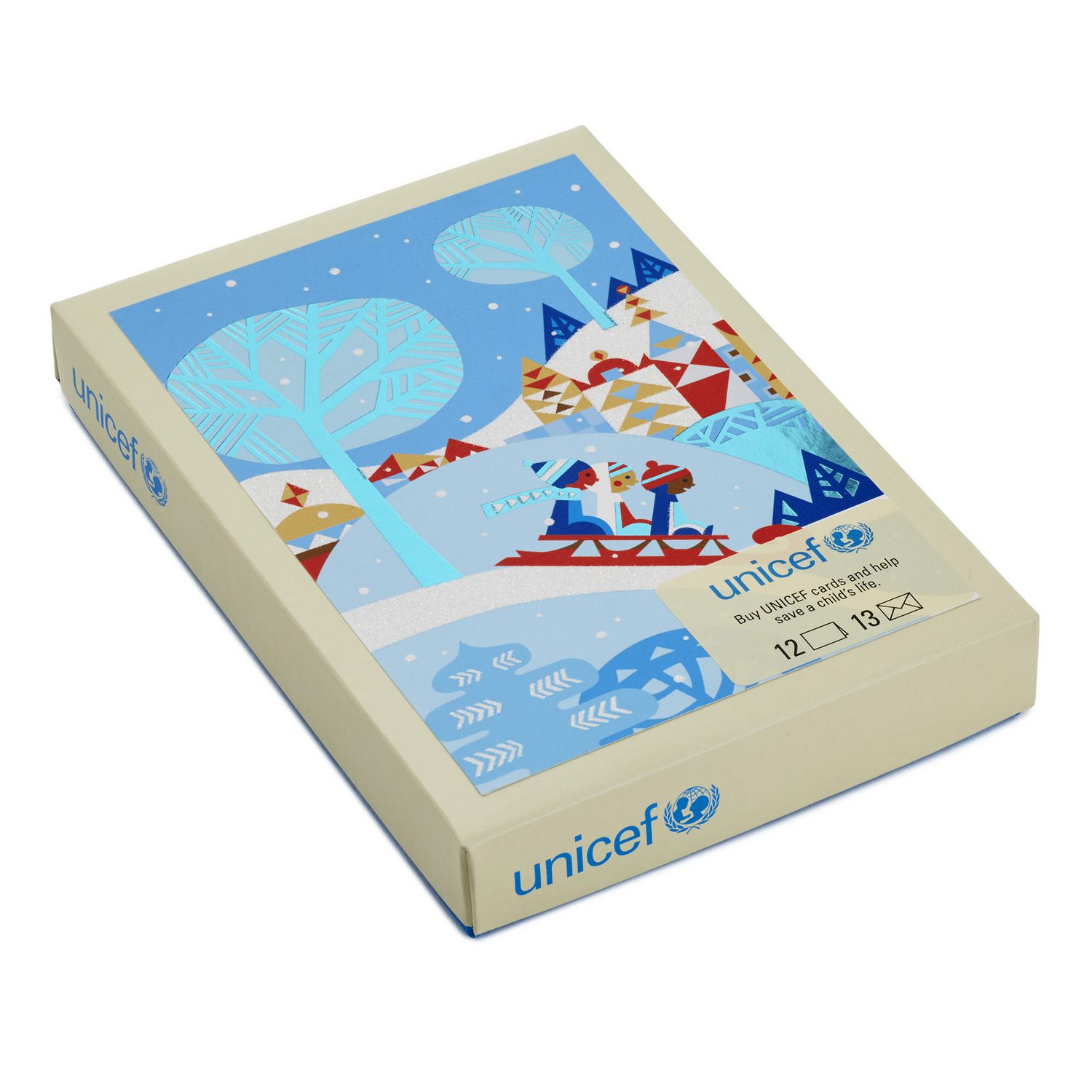 Unicef Christmas Cards.Hallmark Unicef Children Sledding French Language Boxed Christmas Cards
