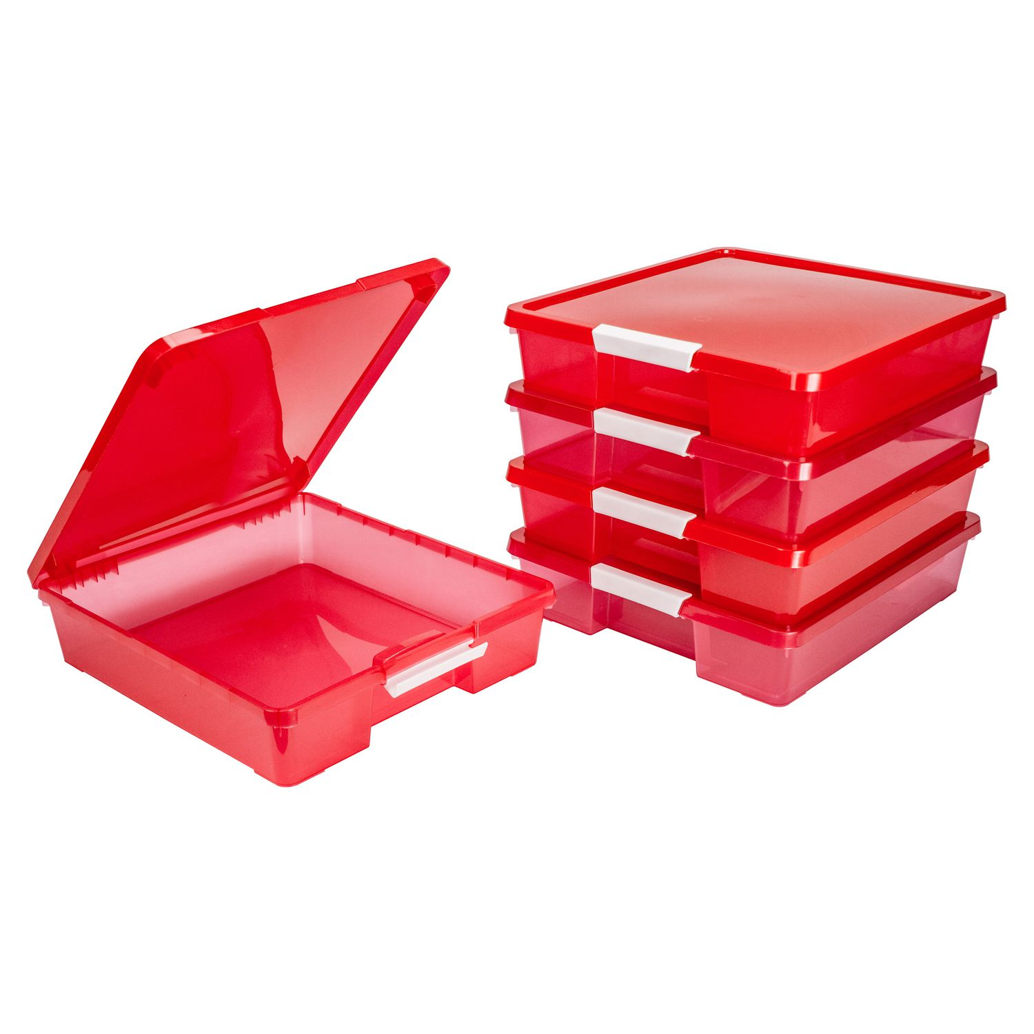 Storex 12x12 Classroom Student Project Box, Tint Red, Case