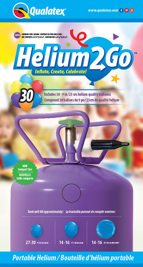 Qualatex Helium2go Disposable Portable Helium Tank With Balloons