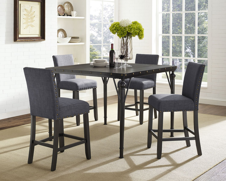 Superb Brassex Inc Arianna 5 Piece Pub Set Table 4 Stools Grey Download Free Architecture Designs Xoliawazosbritishbridgeorg